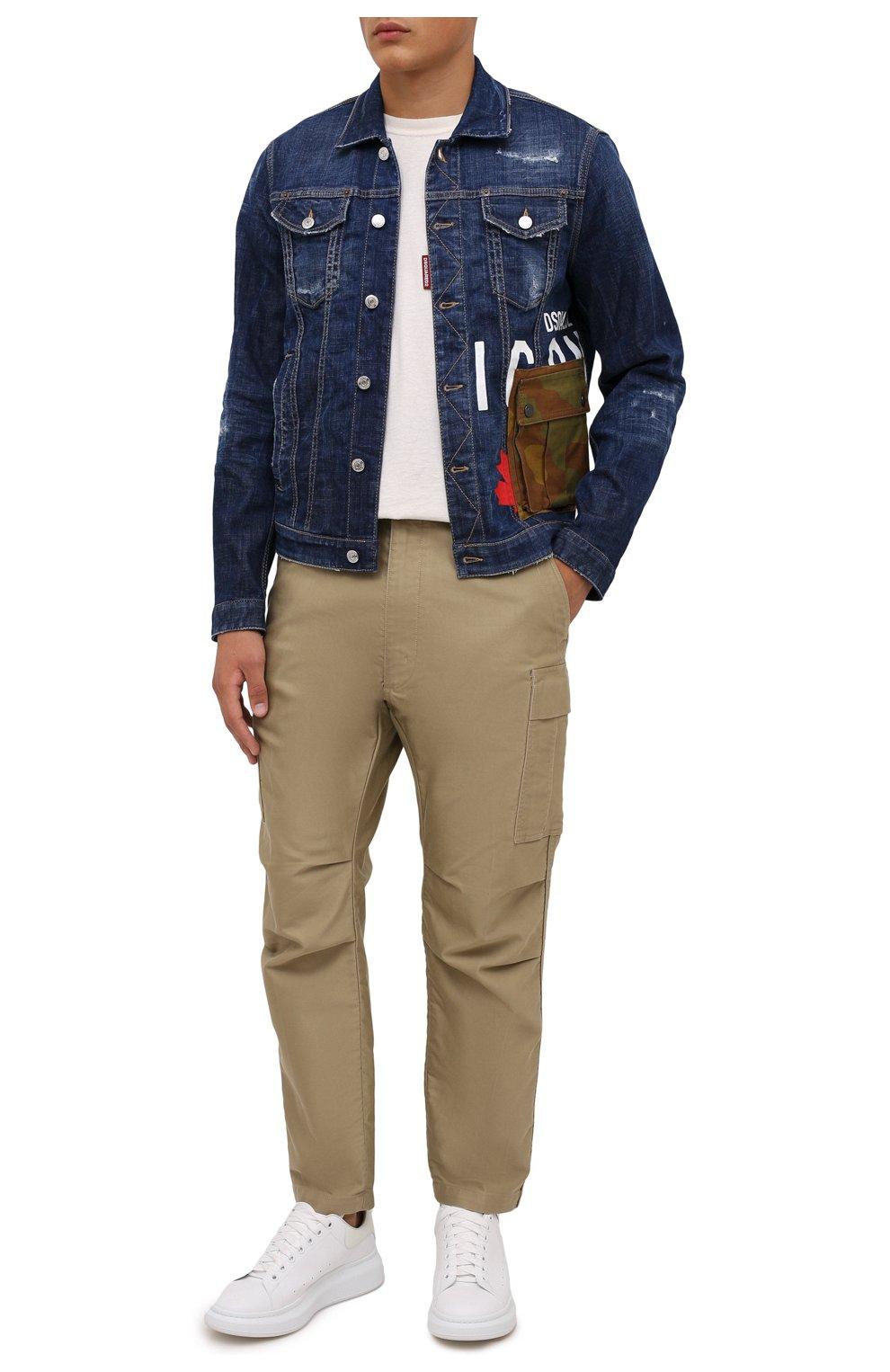 Мужская джинсовая куртка DSQUARED2 синего цвета, арт. S79AM0024/S30342   Фото 2 (Кросс-КТ: Куртка, Деним; Рукава: Длинные; Стили: Гранж; Материал внешний: Хлопок; Длина (верхняя одежда): Короткие)