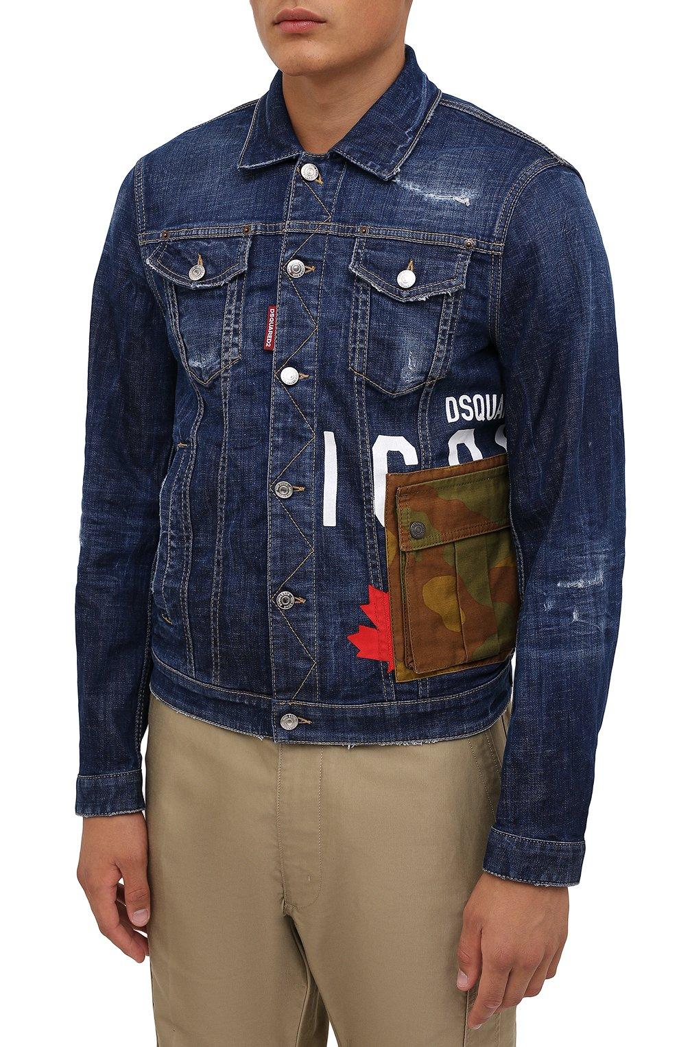 Мужская джинсовая куртка DSQUARED2 синего цвета, арт. S79AM0024/S30342   Фото 3 (Кросс-КТ: Куртка, Деним; Рукава: Длинные; Стили: Гранж; Материал внешний: Хлопок; Длина (верхняя одежда): Короткие)