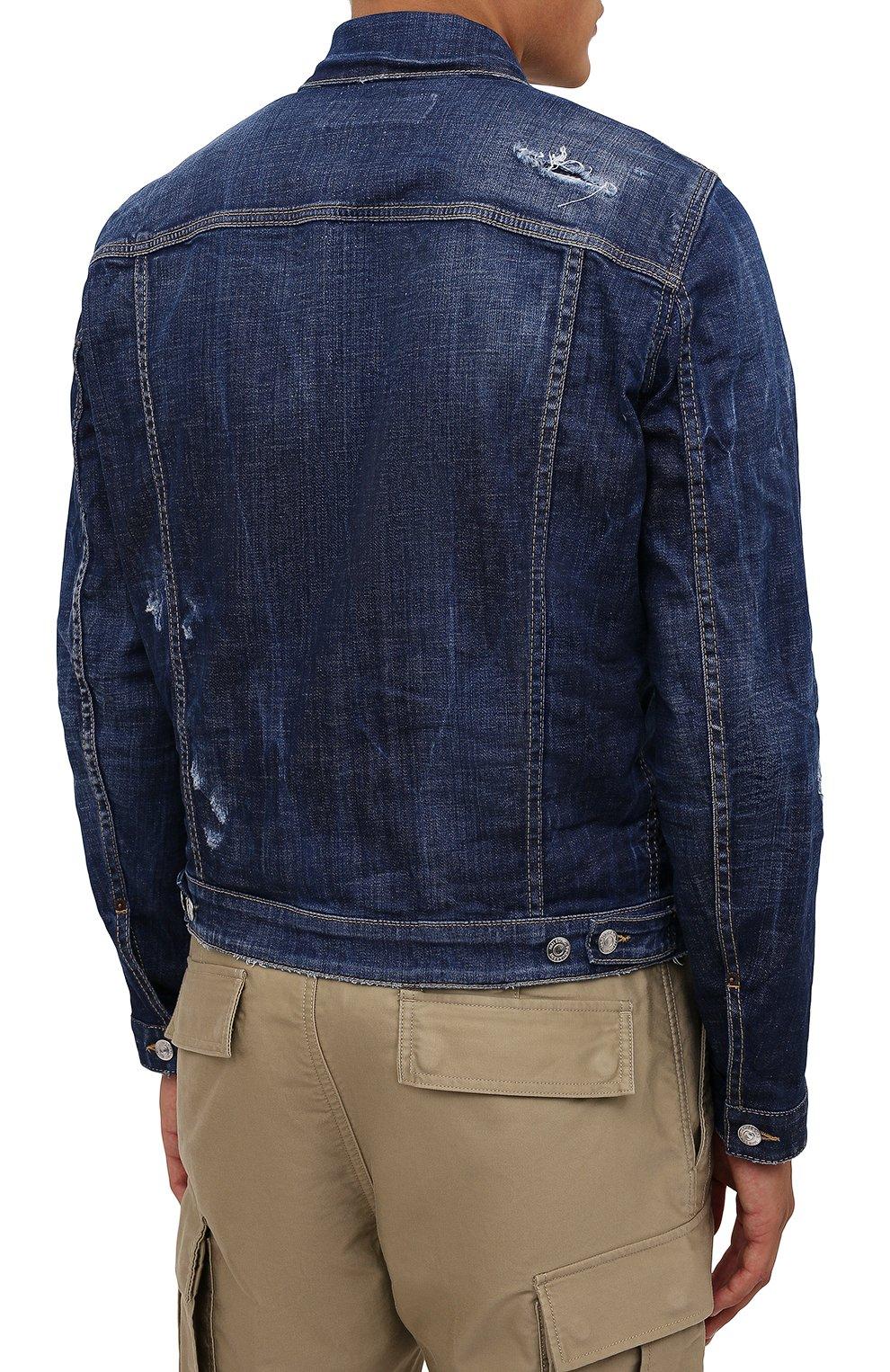 Мужская джинсовая куртка DSQUARED2 синего цвета, арт. S79AM0024/S30342   Фото 4 (Кросс-КТ: Куртка, Деним; Рукава: Длинные; Стили: Гранж; Материал внешний: Хлопок; Длина (верхняя одежда): Короткие)