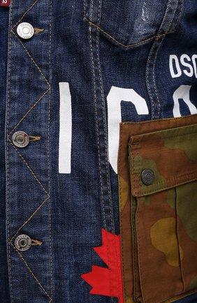 Мужская джинсовая куртка DSQUARED2 синего цвета, арт. S79AM0024/S30342   Фото 5 (Кросс-КТ: Куртка, Деним; Рукава: Длинные; Стили: Гранж; Материал внешний: Хлопок; Длина (верхняя одежда): Короткие)