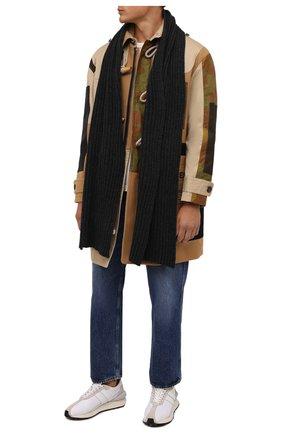Мужской кашемировый шарф INVERNI темно-серого цвета, арт. 5003 SM   Фото 2 (Материал: Шерсть, Кашемир; Кросс-КТ: кашемир)