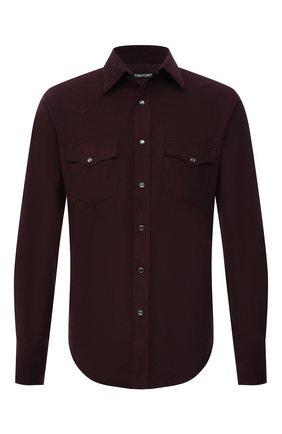 Мужская хлопковая рубашка TOM FORD бордового цвета, арт. 2FT885/94MEKI | Фото 1 (Рукава: Длинные; Материал внешний: Хлопок; Длина (для топов): Стандартные; Случай: Повседневный; Принт: Однотонные; Воротник: Кент; Манжеты: На кнопках; Рубашки М: Slim Fit; Стили: Кэжуэл)