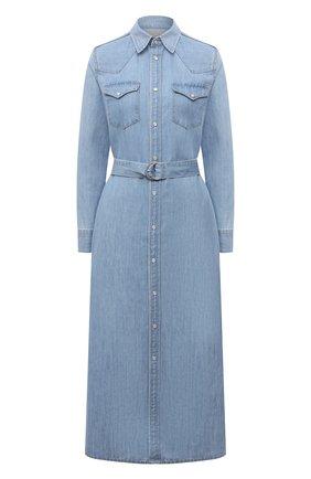 Женское платье из хлопка и льна POLO RALPH LAUREN голубого цвета, арт. 211843862 | Фото 1