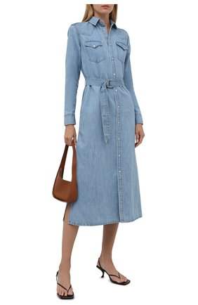 Женское платье из хлопка и льна POLO RALPH LAUREN голубого цвета, арт. 211843862 | Фото 2