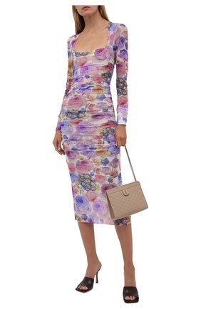 Женское платье GANNI разноцветного цвета, арт. T2892   Фото 2 (Рукава: Длинные; Случай: Вечерний; Материал внешний: Синтетический материал; Длина Ж (юбки, платья, шорты): Миди; Материал подклада: Синтетический материал; Стили: Романтичный; Женское Кросс-КТ: Платье-одежда)