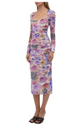 Женское платье GANNI разноцветного цвета, арт. T2892   Фото 3 (Рукава: Длинные; Случай: Вечерний; Материал внешний: Синтетический материал; Длина Ж (юбки, платья, шорты): Миди; Материал подклада: Синтетический материал; Стили: Романтичный; Женское Кросс-КТ: Платье-одежда)