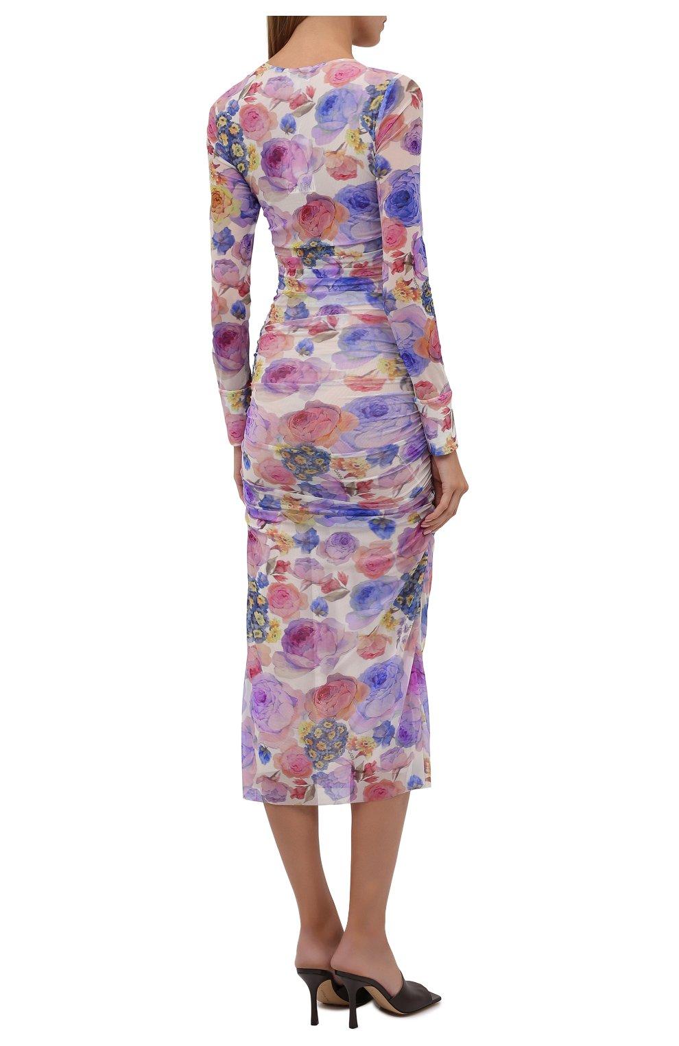 Женское платье GANNI разноцветного цвета, арт. T2892   Фото 4 (Рукава: Длинные; Случай: Вечерний; Материал внешний: Синтетический материал; Длина Ж (юбки, платья, шорты): Миди; Материал подклада: Синтетический материал; Стили: Романтичный; Женское Кросс-КТ: Платье-одежда)