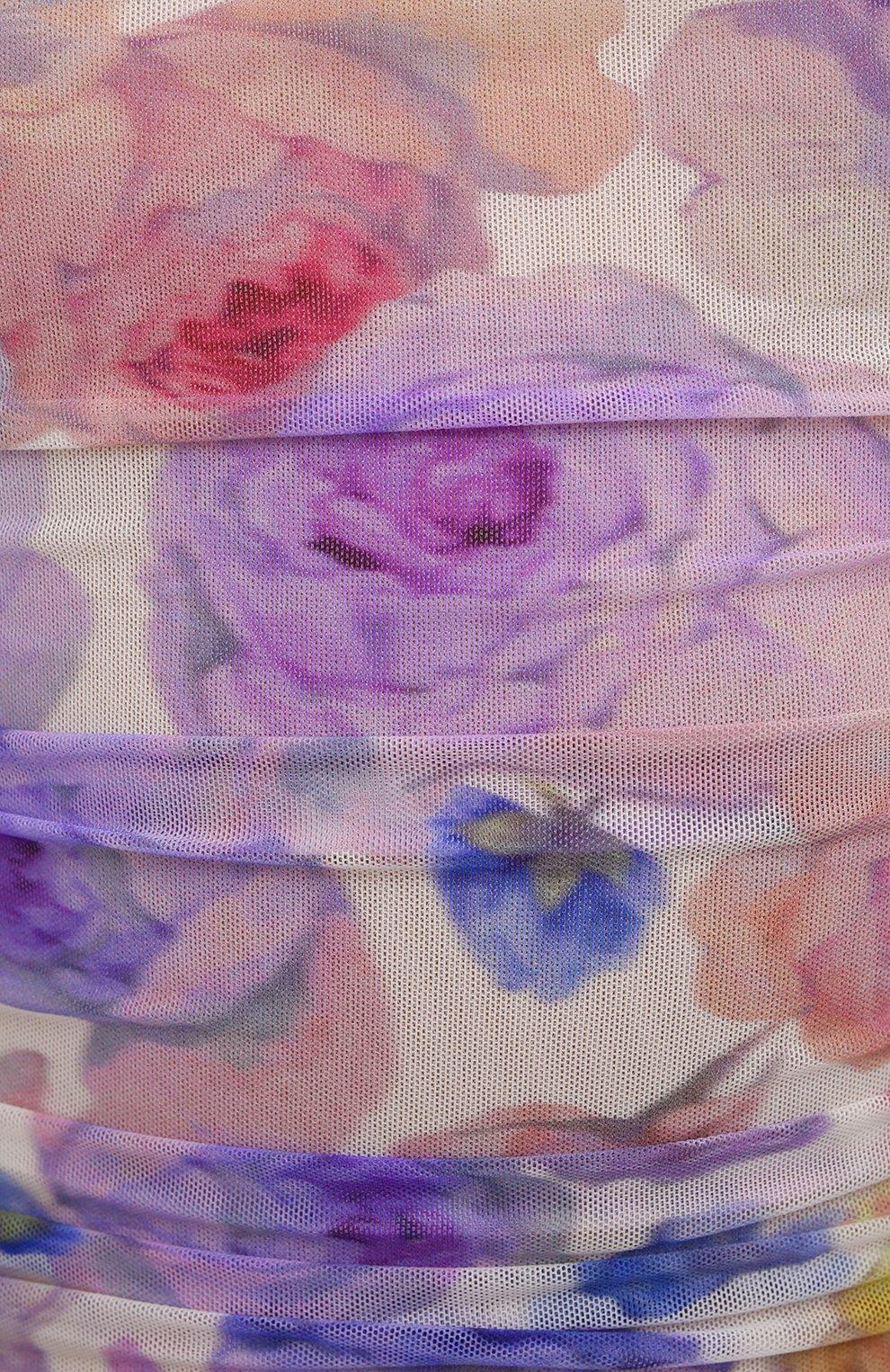 Женское платье GANNI разноцветного цвета, арт. T2892   Фото 5 (Рукава: Длинные; Случай: Вечерний; Материал внешний: Синтетический материал; Длина Ж (юбки, платья, шорты): Миди; Материал подклада: Синтетический материал; Стили: Романтичный; Женское Кросс-КТ: Платье-одежда)