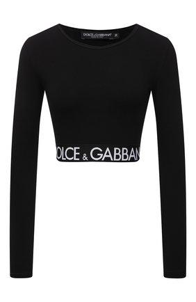 Женский хлопковый топ DOLCE & GABBANA черного цвета, арт. F8N51T/FUEEY   Фото 1