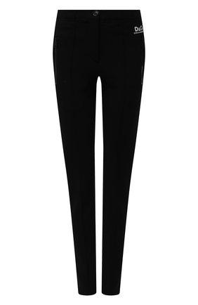 Женские брюки DOLCE & GABBANA черного цвета, арт. FTB7KT/GD095 | Фото 1 (Материал внешний: Вискоза; Длина (брюки, джинсы): Стандартные; Стили: Спорт-шик; Женское Кросс-КТ: Брюки-одежда; Силуэт Ж (брюки и джинсы): Узкие)
