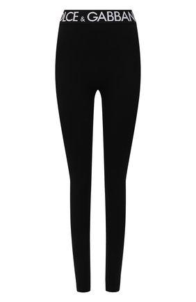 Женские леггинсы DOLCE & GABBANA черного цвета, арт. FTB5TT/FUEEY   Фото 1