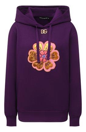 Женский хлопковое худи DOLCE & GABBANA фиолетового цвета, арт. F9K47Z/G7BBQ | Фото 1 (Длина (для топов): Стандартные; Рукава: Длинные; Материал внешний: Хлопок; Стили: Спорт-шик; Женское Кросс-КТ: Худи-одежда)