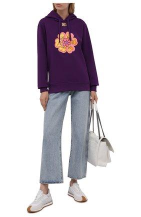 Женский хлопковое худи DOLCE & GABBANA фиолетового цвета, арт. F9K47Z/G7BBQ | Фото 2 (Длина (для топов): Стандартные; Рукава: Длинные; Материал внешний: Хлопок; Стили: Спорт-шик; Женское Кросс-КТ: Худи-одежда)