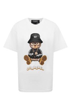 Женская хлопковая футболка DOMREBEL белого цвета, арт. NY BEAR/B0X T/W | Фото 1