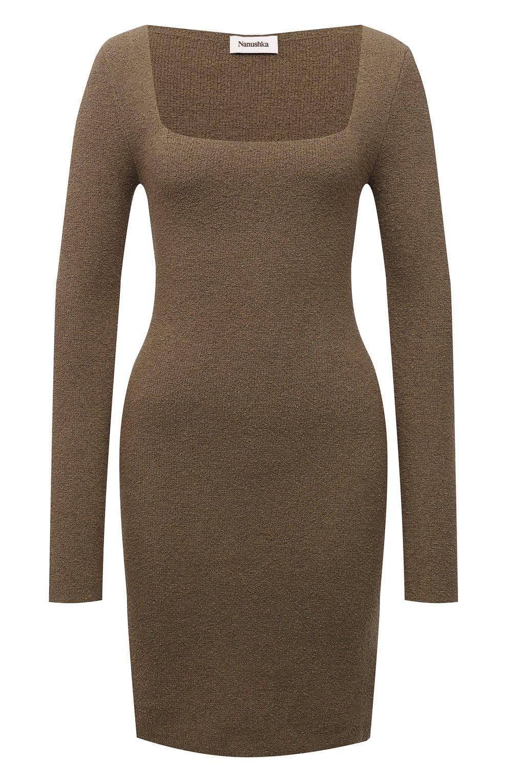 Женское хлопковое платье NANUSHKA хаки цвета, арт. NW21PFDR00762   Фото 1 (Рукава: Длинные; Стили: Гламурный; Длина Ж (юбки, платья, шорты): Мини; Случай: Повседневный; Женское Кросс-КТ: платье-футляр, Платье-одежда; Кросс-КТ: Трикотаж; Материал внешний: Хлопок)