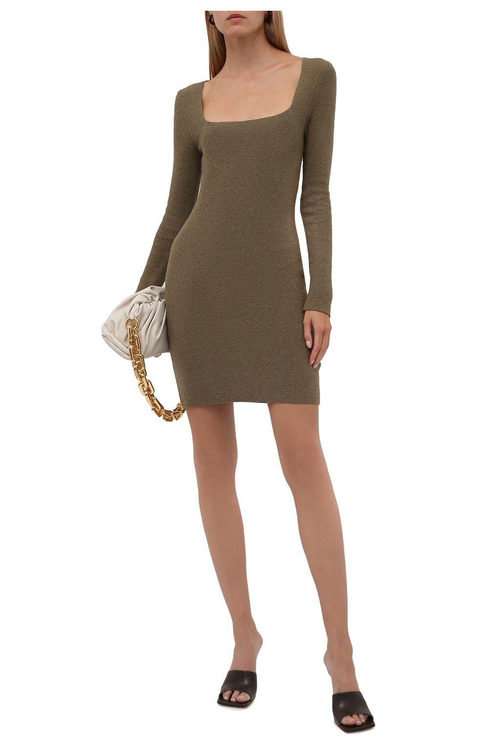 Женское хлопковое платье NANUSHKA хаки цвета, арт. NW21PFDR00762   Фото 2 (Рукава: Длинные; Стили: Гламурный; Длина Ж (юбки, платья, шорты): Мини; Случай: Повседневный; Женское Кросс-КТ: платье-футляр, Платье-одежда; Кросс-КТ: Трикотаж; Материал внешний: Хлопок)