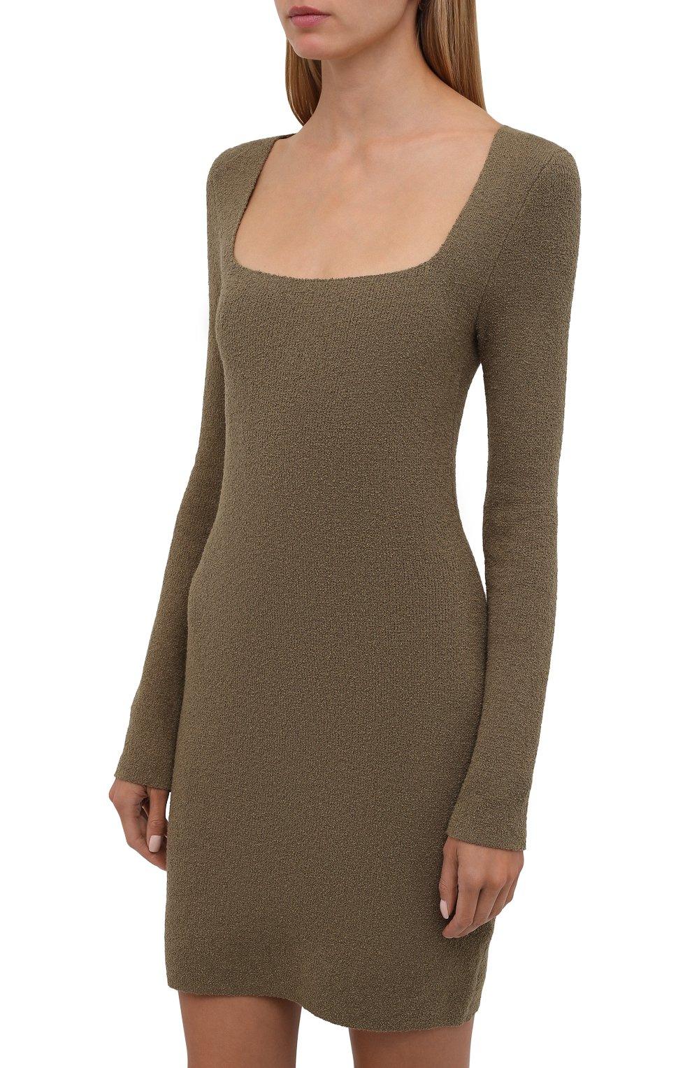 Женское хлопковое платье NANUSHKA хаки цвета, арт. NW21PFDR00762   Фото 3 (Рукава: Длинные; Стили: Гламурный; Длина Ж (юбки, платья, шорты): Мини; Случай: Повседневный; Женское Кросс-КТ: платье-футляр, Платье-одежда; Кросс-КТ: Трикотаж; Материал внешний: Хлопок)