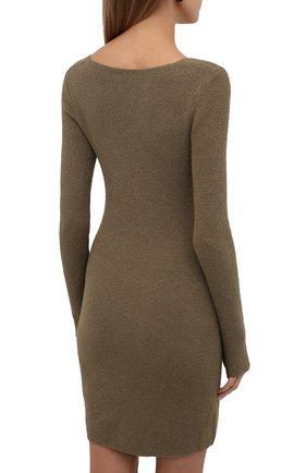 Женское хлопковое платье NANUSHKA хаки цвета, арт. NW21PFDR00762   Фото 4 (Рукава: Длинные; Стили: Гламурный; Длина Ж (юбки, платья, шорты): Мини; Случай: Повседневный; Женское Кросс-КТ: платье-футляр, Платье-одежда; Кросс-КТ: Трикотаж; Материал внешний: Хлопок)