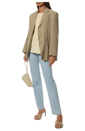 Женская хлопковая футболка NANUSHKA кремвого цвета, арт. NM21RSTP00971   Фото 2