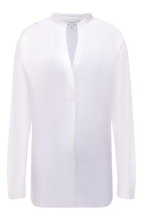 Женская шелковая блузка VINCE белого цвета, арт. VR84511926 | Фото 1 (Материал внешний: Шелк; Длина (для топов): Стандартные; Рукава: Длинные; Стили: Гламурный; Принт: Без принта; Женское Кросс-КТ: Блуза-одежда)