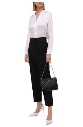 Женская шелковая блузка VINCE белого цвета, арт. VR84511926 | Фото 2 (Материал внешний: Шелк; Длина (для топов): Стандартные; Рукава: Длинные; Стили: Гламурный; Принт: Без принта; Женское Кросс-КТ: Блуза-одежда)
