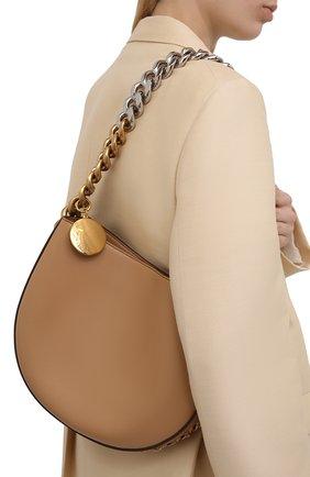 Женская сумка chunky chain medium STELLA MCCARTNEY бежевого цвета, арт. 700236/W8839 | Фото 2 (Размер: medium; Материал: Текстиль, Экокожа; Сумки-технические: Сумки top-handle)