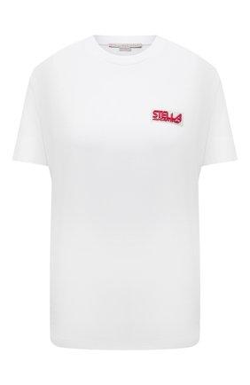 Женская хлопковая футболка STELLA MCCARTNEY белого цвета, арт. 603736/SPW03 | Фото 1 (Длина (для топов): Стандартные; Рукава: Короткие; Материал внешний: Хлопок; Стили: Спорт-шик; Принт: С принтом; Женское Кросс-КТ: Футболка-одежда)