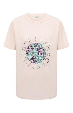 Женская хлопковая футболка STELLA MCCARTNEY светло-бежевого цвета, арт. 381701/S0W84 | Фото 1 (Материал внешний: Хлопок; Длина (для топов): Стандартные; Рукава: Короткие; Стили: Спорт-шик; Принт: С принтом; Женское Кросс-КТ: Футболка-одежда)