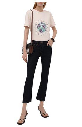 Женская хлопковая футболка STELLA MCCARTNEY светло-бежевого цвета, арт. 381701/S0W84 | Фото 2 (Материал внешний: Хлопок; Длина (для топов): Стандартные; Рукава: Короткие; Стили: Спорт-шик; Принт: С принтом; Женское Кросс-КТ: Футболка-одежда)