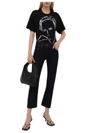 Женская хлопковая футболка GIORGIO ARMANI черного цвета, арт. 6KAM79/AJMCZ   Фото 2
