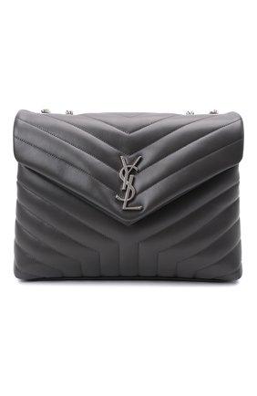 Женская сумка monogram loulou medium SAINT LAURENT темно-серого цвета, арт. 574946/DV726 | Фото 1 (Материал: Натуральная кожа; Размер: medium; Сумки-технические: Сумки через плечо; Ремень/цепочка: На ремешке)
