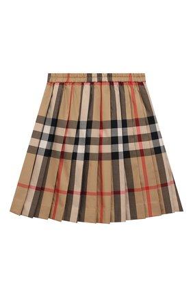 Детская хлопковая юбка BURBERRY бежевого цвета, арт. 8039522 | Фото 2