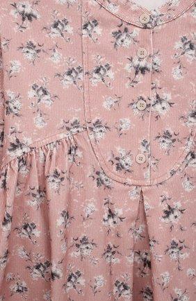 Детское хлопковое платье IL GUFO светло-розового цвета, арт. A21VL451C4074/5A-8A | Фото 3 (Рукава: Длинные; Случай: Повседневный; Материал внешний: Хлопок; Девочки Кросс-КТ: Платье-одежда; Ростовка одежда: 4 года | 104 см, 5 лет | 110 см, 7 лет | 122 см)