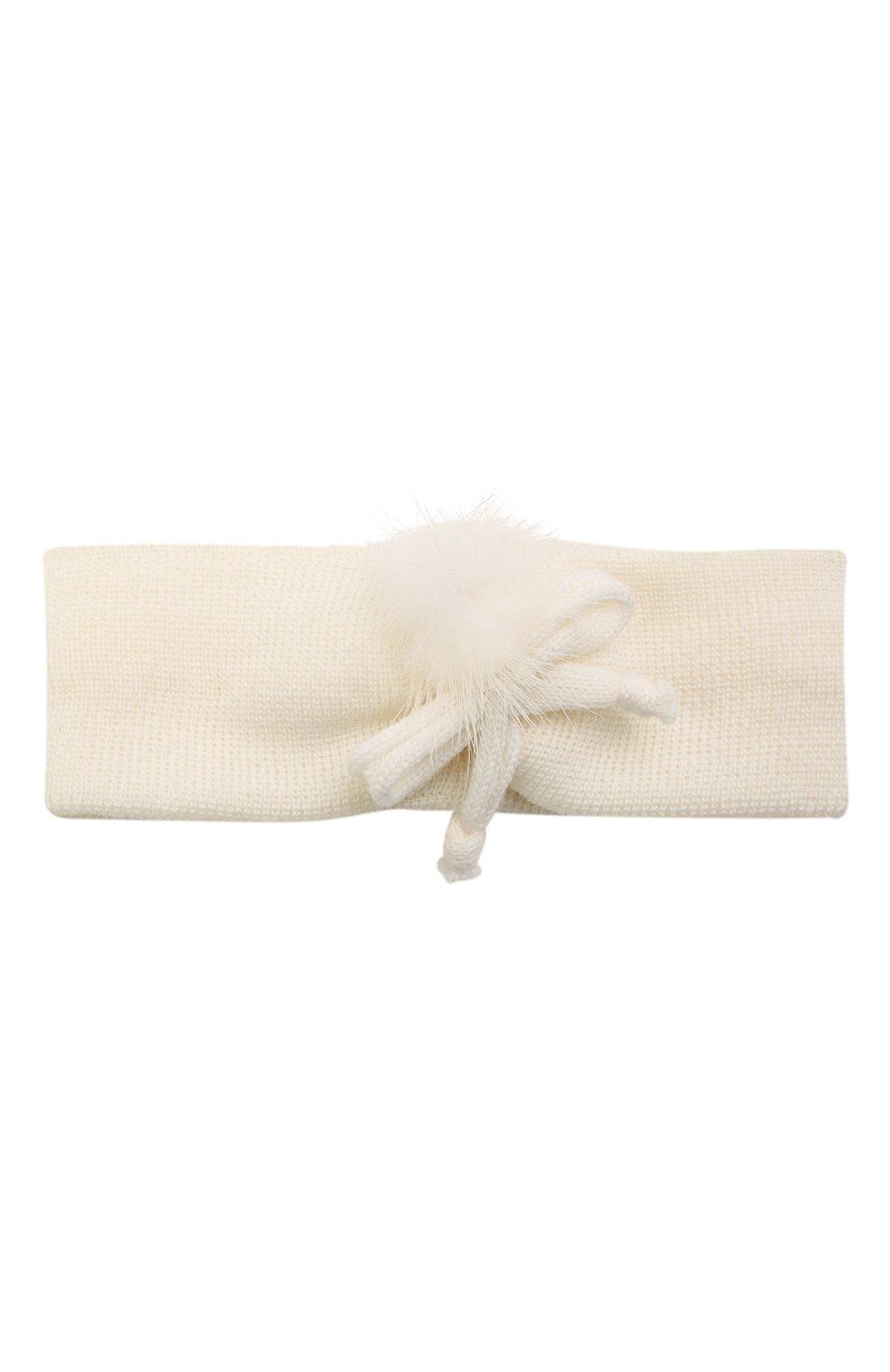 Детская шерстяная повязка CATYA белого цвета, арт. 125774 | Фото 1 (Материал: Шерсть)