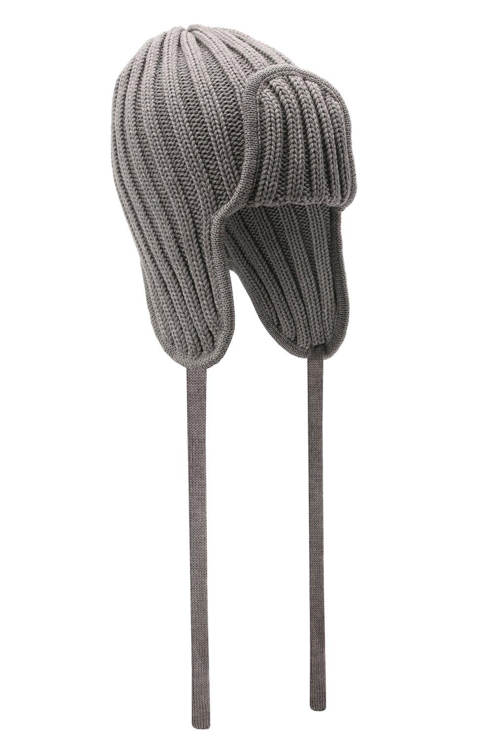 Детского шерстяная шапка CATYA серого цвета, арт. 125742 | Фото 1 (Материал: Шерсть)
