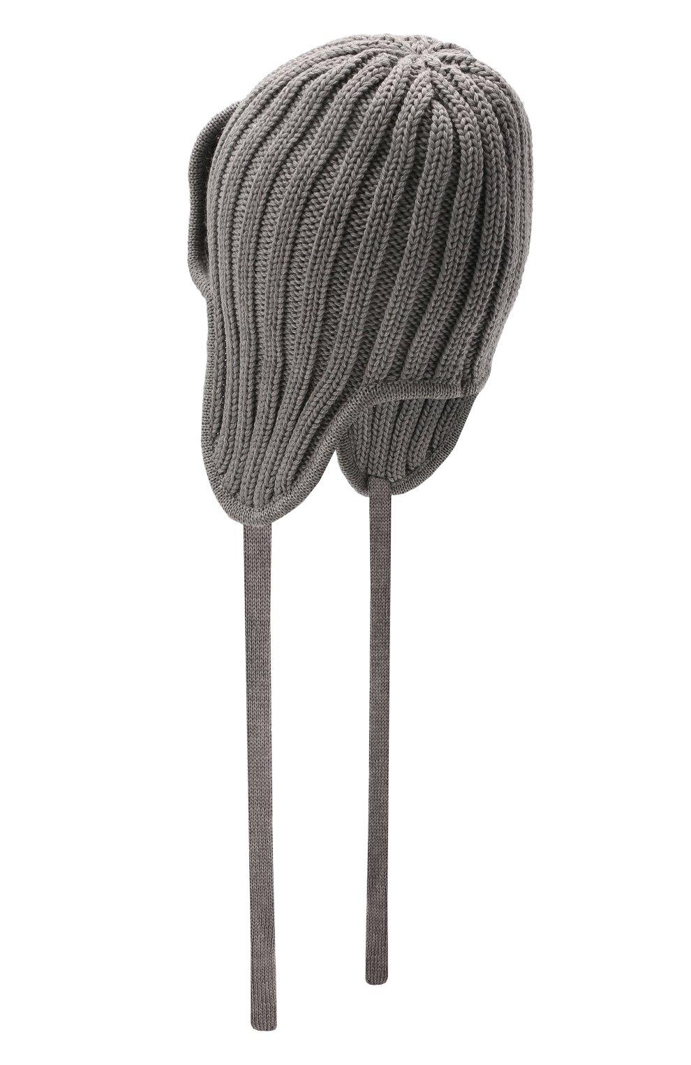 Детского шерстяная шапка CATYA серого цвета, арт. 125742 | Фото 2 (Материал: Шерсть)