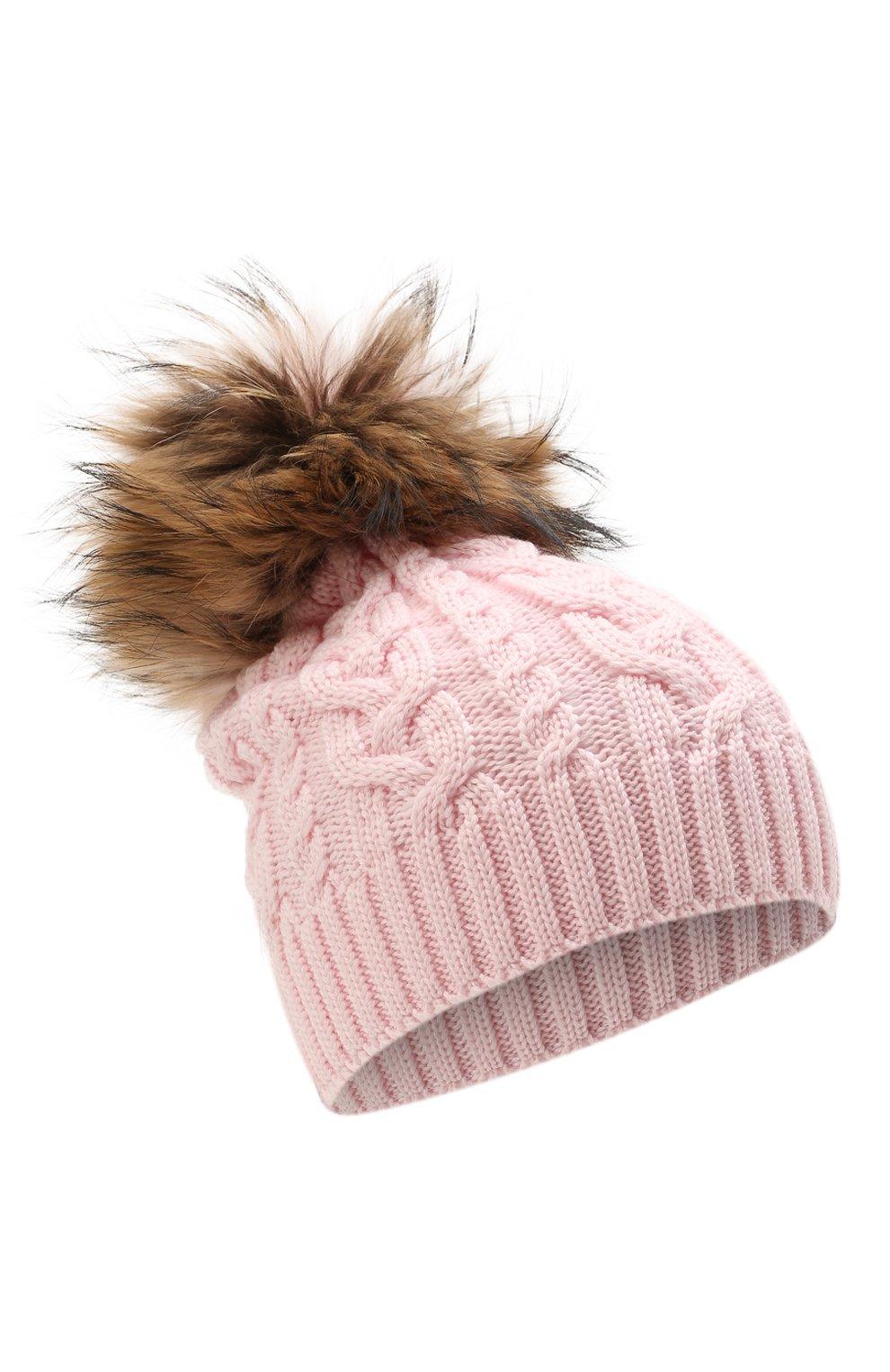 Детского шерстяная шапка с меховой отделкой CATYA розового цвета, арт. 125625 | Фото 1 (Материал: Шерсть)
