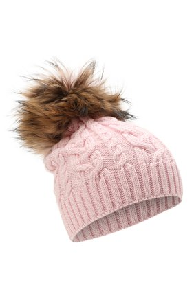 Детского шерстяная шапка с меховой отделкой CATYA розового цвета, арт. 125625 | Фото 1