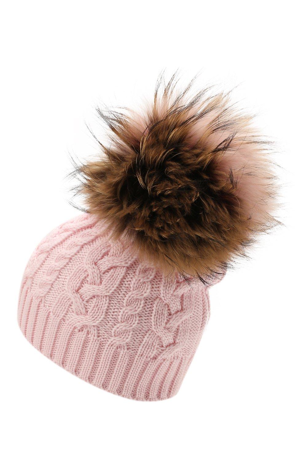 Детского шерстяная шапка с меховой отделкой CATYA розового цвета, арт. 125625 | Фото 2 (Материал: Шерсть)