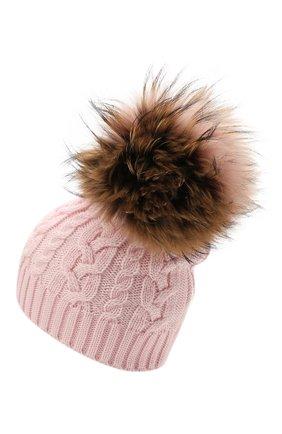 Детского шерстяная шапка с меховой отделкой CATYA розового цвета, арт. 125625 | Фото 2