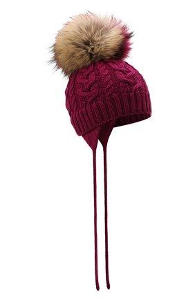 Детского шерстяная шапка с меховой отделкой CATYA малинового цвета, арт. 125625/A | Фото 1