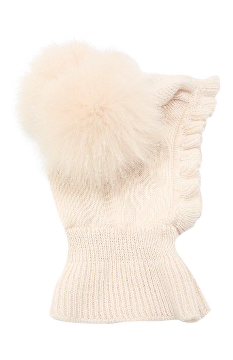Детского шерстяная шапка-балаклава CATYA кремвого цвета, арт. 125617/P | Фото 1 (Материал: Шерсть)