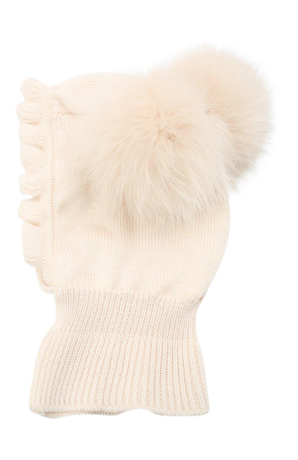 Детского шерстяная шапка-балаклава CATYA кремвого цвета, арт. 125617/P | Фото 2 (Материал: Шерсть)
