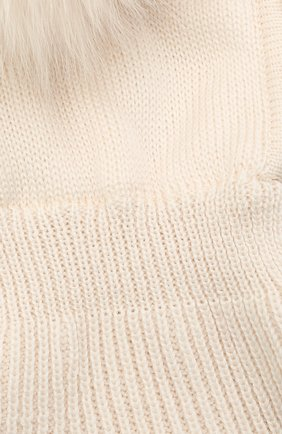 Детского шерстяная шапка-балаклава CATYA кремвого цвета, арт. 125617/P | Фото 3 (Материал: Шерсть)