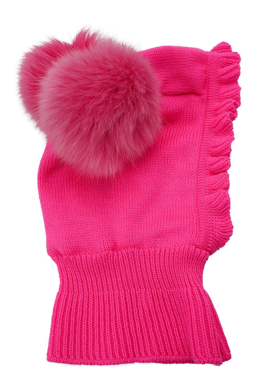 Детского шерстяная шапка-балаклава CATYA фуксия цвета, арт. 125617/P   Фото 1 (Материал: Шерсть)