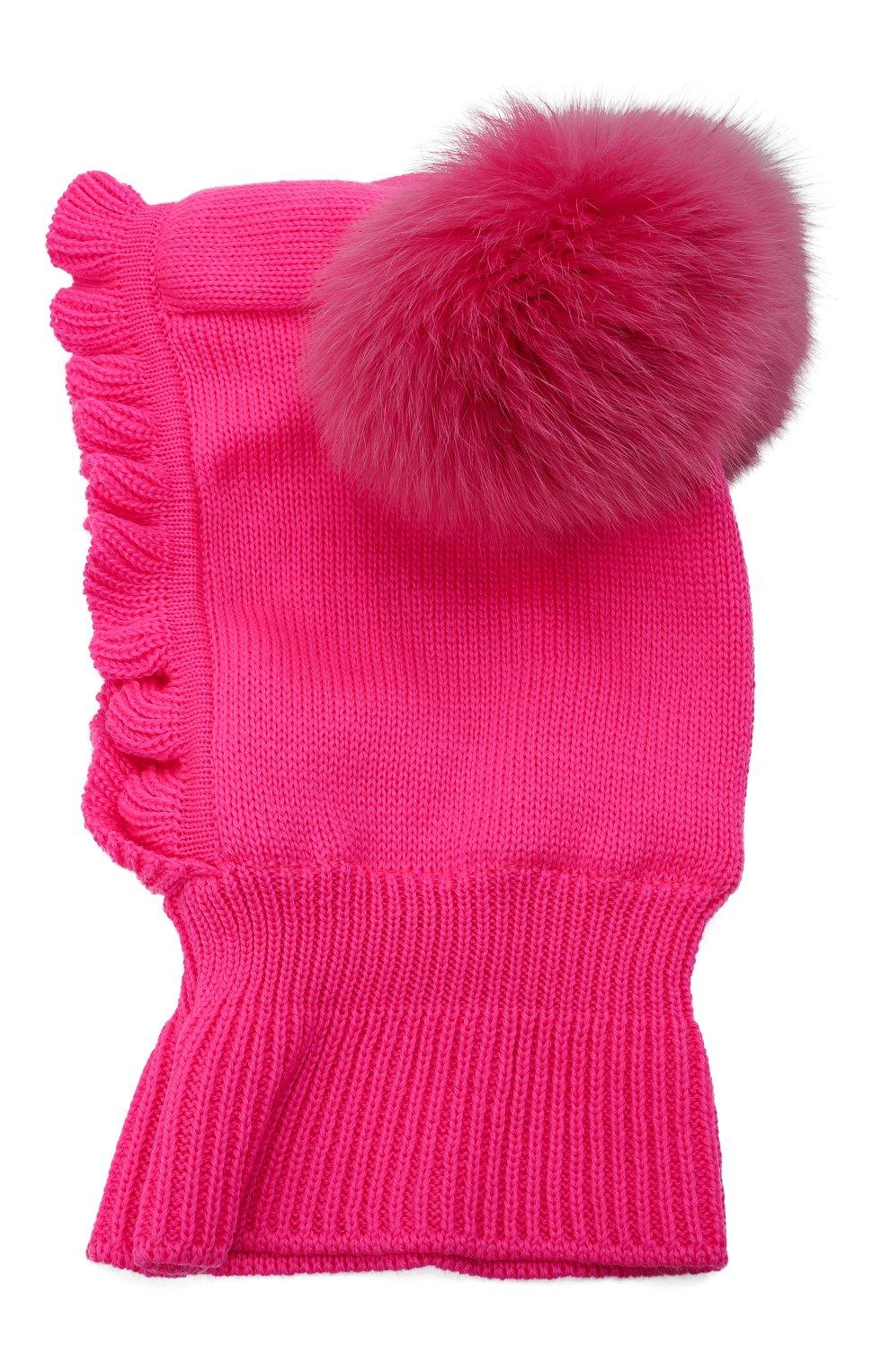 Детского шерстяная шапка-балаклава CATYA фуксия цвета, арт. 125617/P   Фото 2 (Материал: Шерсть)
