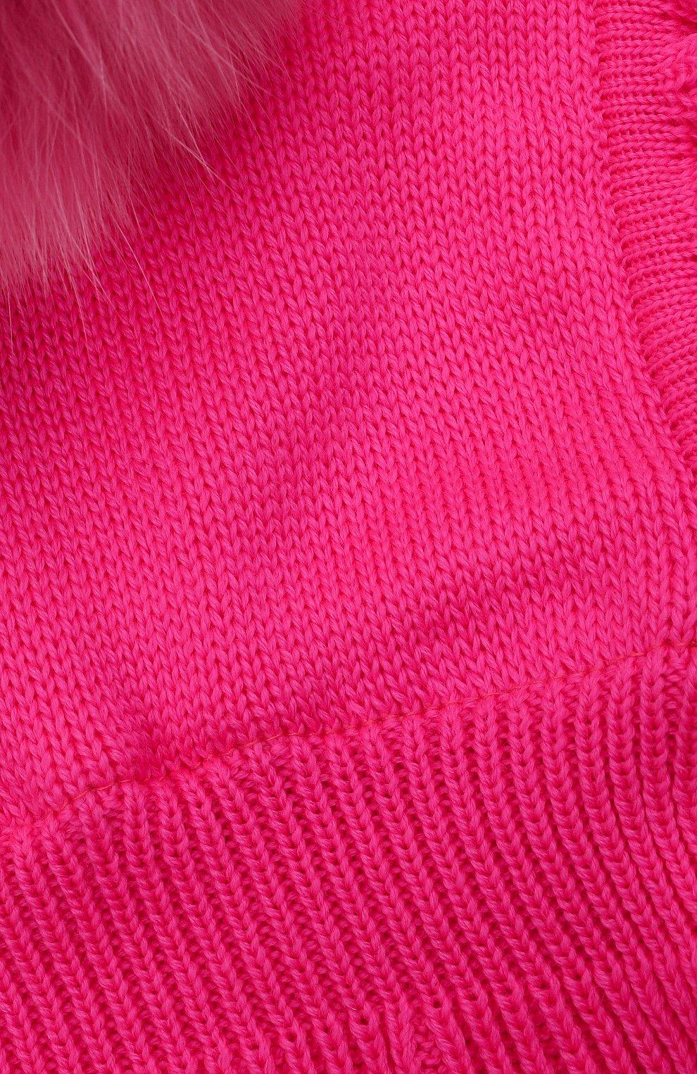 Детского шерстяная шапка-балаклава CATYA фуксия цвета, арт. 125617/P   Фото 3 (Материал: Шерсть)