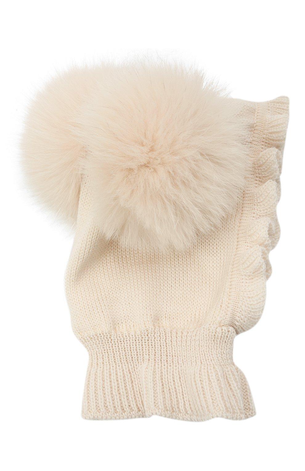 Детского шерстяная шапка-балаклава CATYA кремвого цвета, арт. 125617/2J | Фото 1 (Материал: Шерсть)