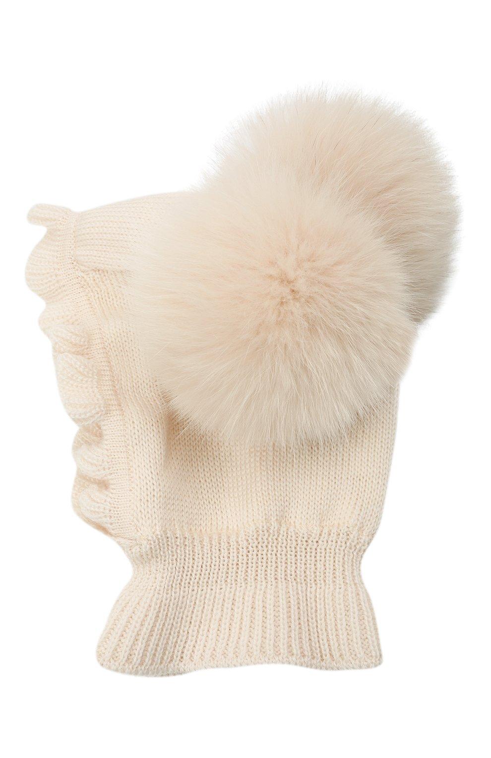 Детского шерстяная шапка-балаклава CATYA кремвого цвета, арт. 125617/2J | Фото 2 (Материал: Шерсть)