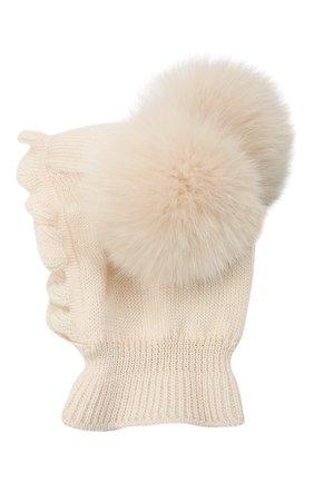 Детского шерстяная шапка-балаклава CATYA кремвого цвета, арт. 125617/2J | Фото 2